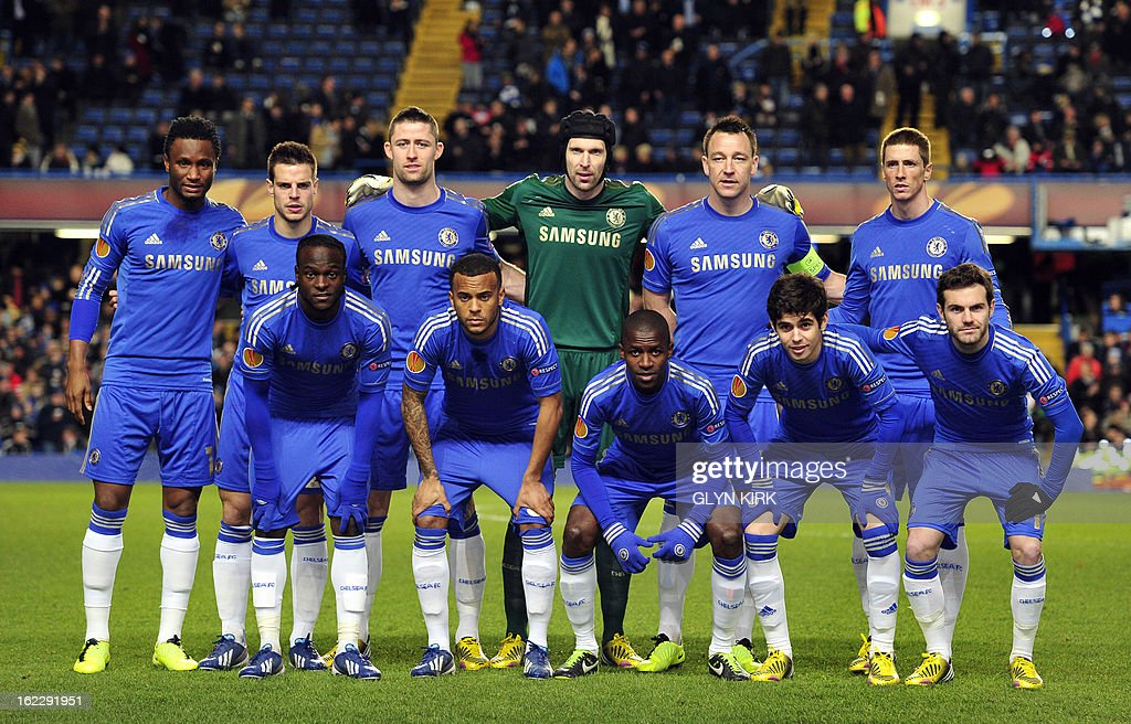 Chelsea team (L-R back row) Chelsea's Nigerian midfielder John Mikel Obi, Chelsea's Spanish defender Cesar Azpilicueta, Chelsea's English defender Gary Cahill, Chelsea's Czech goalkeeper Petr Cech, Chelsea's English defender John Terry, Chelsea's Spanish striker Fernando Torres, (L-R front row) Chelsea's Nigerian midfielder Victor Moses, Chelsea's English defender Ryan Bertrand, Chelsea's Brazilian midfielder Ramires, Chelsea's Brazilian midfielder Oscar, Chelsea's Spanish striker Juan Mata, pose for a team photo before the UEFA Europa League round of 32 football match against Sparta Prague at Stamford Bridge in London, England on February 21, 2013.