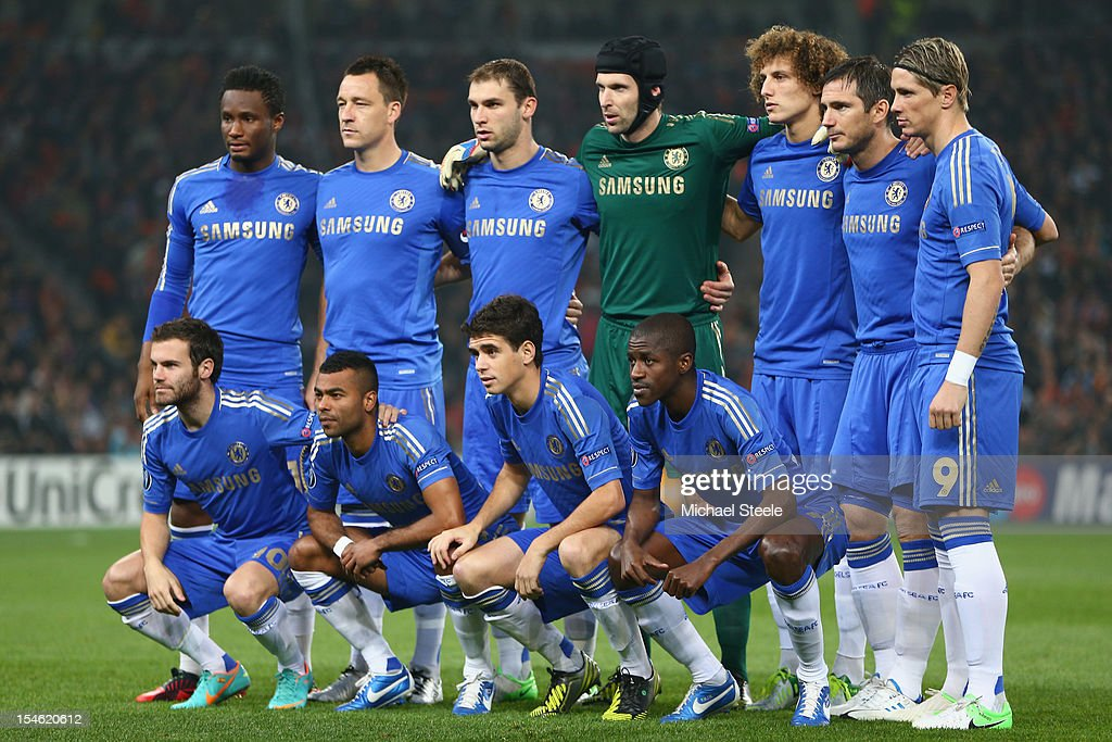 Chelsea team group during the UEFA Champions League Group E match between Shakhtar Donetsk and Chelsea at the Donbass Arena on October 23, 2012 in Donetsk, Ukraine.