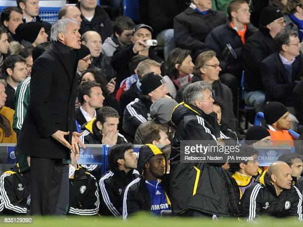 Chelsea temporary head coach Guus Hiddink and Juventus Claudio Ranieri on the touchline