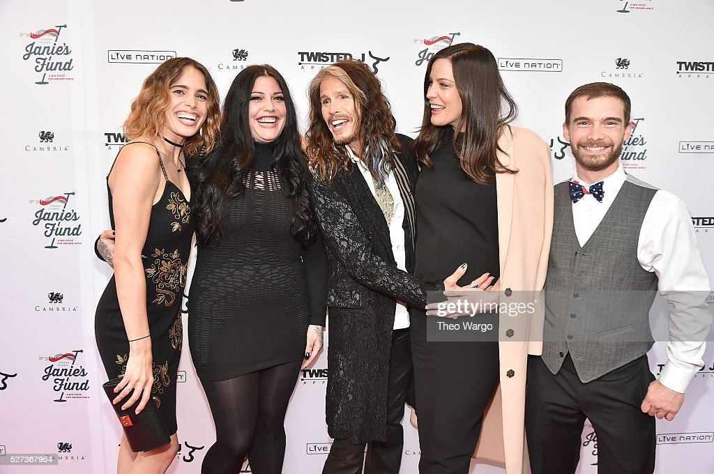 Chelsea Tyler, Mia Tyler, Steven Tyler, Liv Tyler and Taj Tallarico attend 'Steven Tyler...Out on a Limb' Show to Benefit Janie's Fund in Collaboration with Youth Villages - Red Carpet at David Geffen Hall on May 2, 2016 in New York City.