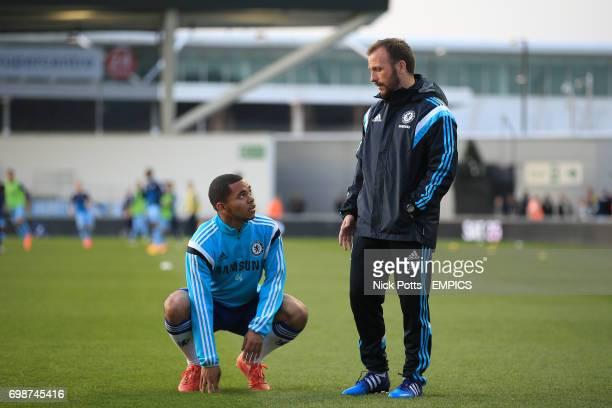 Chelsea under 18 coach Jody Morris speaks with Jay Dasilva before the game