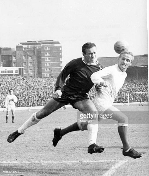 Chelsea v Everton leage match at Stamford Bridge September 1965 Everton's Alex Young is hurried by Chelsea's Ron 'Chopper' Harris Final score Chelsea...
