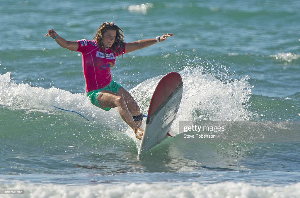 Chelsea Williams of Australia cuts back during her round one heat win at the Swatch Girls Pro in China on November 21, 2012 in Hainan Island, China.