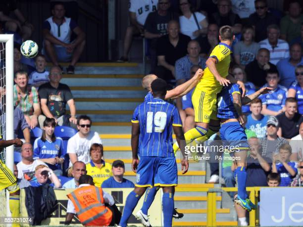 Chelsea XI's John Terry scores during the PreSeason friendly at the The Cherry Red Records Stadium Surrey