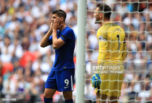 Chelsea's Alvaro Morata after a missed chance during the Premier League match at Wembley Stadium London