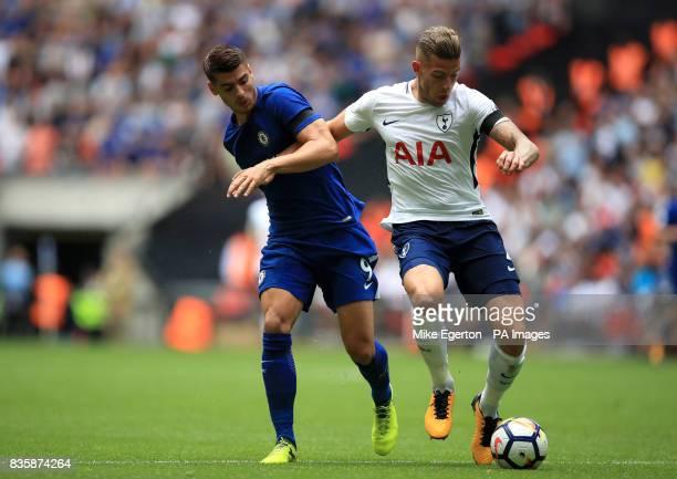Chelsea's Alvaro Morata and Tottenham Hotspur's Toby Alderweireld battle for the ball during the Premier League match at Wembley Stadium London