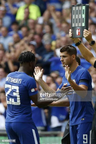 Chelsea's Alvaro Morata comes on as substitute for Chelsea's Belgian striker Michy Batshuayi during the English FA Community Shield football match...