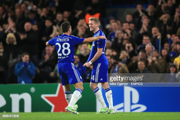 Chelsea's Andre Schurrle celebrates scoring his sides second goal of the game with team mate Cesar Azpilicueta