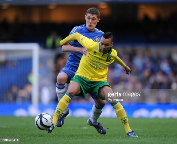 Chelsea's Andreas Christiensen and Norwich City's Jacob Murphy battle for the ball during the FA Youth Cup Final Second Leg at Stamford Bridge London
