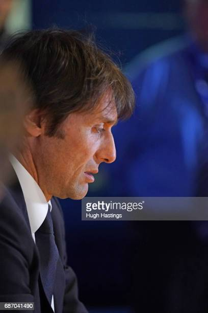 Chelsea's Antonio Conte during the press conference after the Premier League match between Chelsea and Sunderland at Stamford Bridge on May 21 2017...