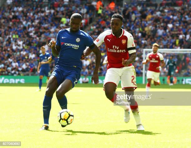 LR Chelsea's Antonio Rudiger and Arsenal's Danny Welbeck during the The FA Community Shield match between Arsenal and Chelsea at Wembley stadium...