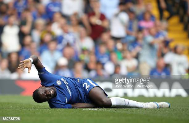 Chelsea's Antonio Rudiger appears injured during the Premier League match at Stamford Bridge London