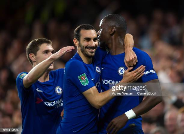 Chelsea's Antonio Rudiger celebrates scoring the opening goal with teammate Davide Zappacosta during the Carabao Cup Fourth Round match between...