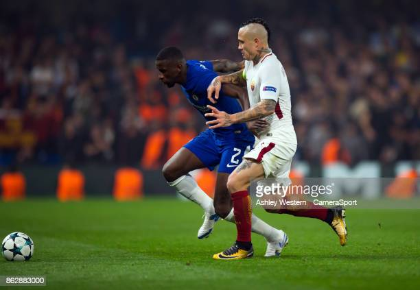 Chelsea's Antonio Rudiger holds off the challenge from Roma's Radja Nainggolan during the UEFA Champions League group C match between Chelsea FC and...