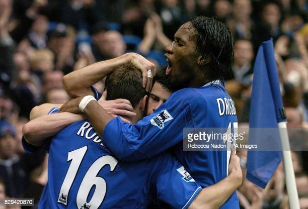 Chelsea's Arjen Robben celebrates his goal with team mates Mateja Kezman and Didier Drogba during the Barclays Premiership match against Newcastle...