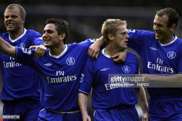 Chelsea's Arjen Robben congratulates Damien Duff on his goal along with teammates Frank Lampard and Eidur Gudjohnsen