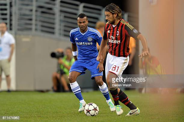 Chelsea's Ashley Cole AC Milan's Cristian Zaccardo during the Guinness International Champions Cup 2013 match between Chelsea and AC Milan at the...