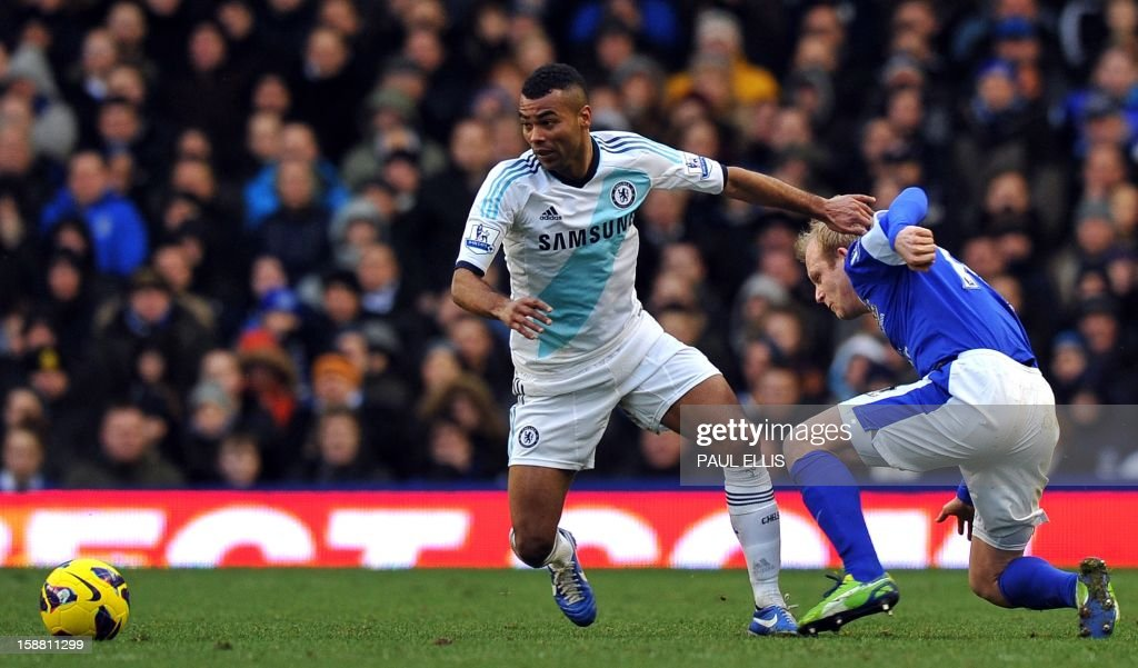 Chelsea's Ashley Cole (L) pulls away from Everton's Steven Naismith during the English Premier League football match between Everton and Chelsea at Goodison Park in Liverpool, England on December 30, 2012. Chelsea won 2-1. AFP PHOTO/Paul Ellis - RESTRICTED