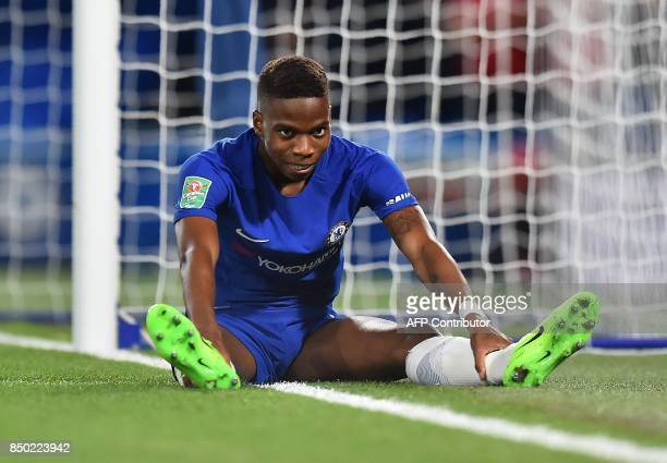 Chelsea's Belgian midfielder Charly Musonda reacts after failing to score during the English League Cup third round football match between Chelsea...