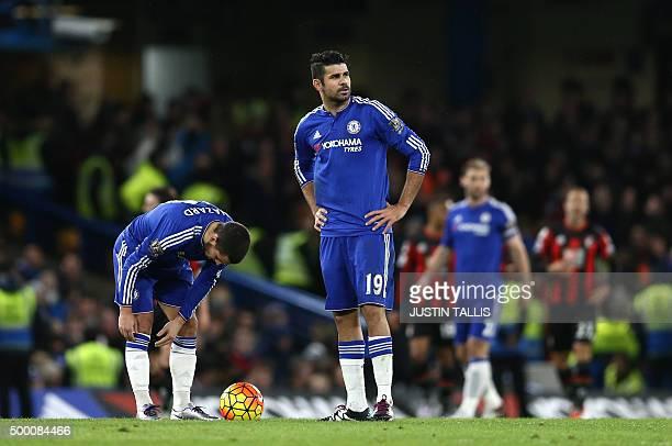 Chelsea's Belgian midfielder Eden Hazard and Chelsea's Brazilianborn Spanish striker Diego Costa wait to restart the game after Bournemouth scored...