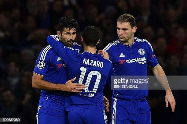 Chelsea's Belgian midfielder Eden Hazard and Chelsea's Serbian defender Branislav Ivanovic celebrate with Chelsea's Brazilianborn Spanish striker...