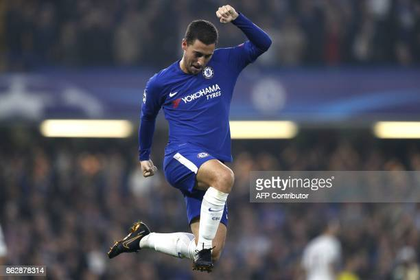 Chelsea's Belgian midfielder Eden Hazard celebrates after scoring during a UEFA Champions league group stage football match between Chelsea and Roma...