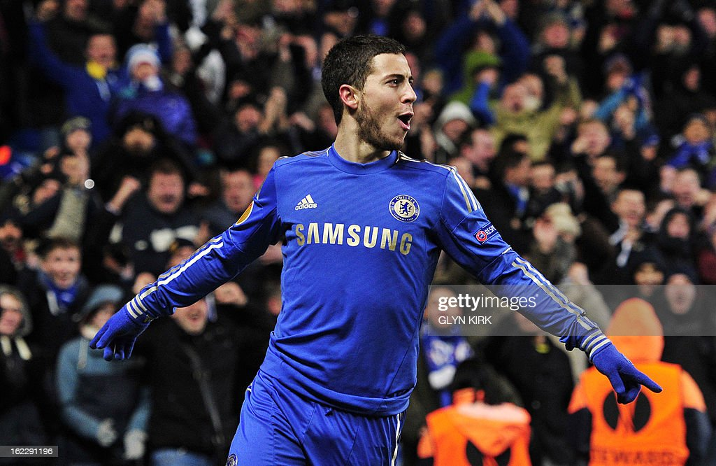 Chelsea's Belgian midfielder Eden Hazard celebrates scoring his late goal during the second leg of the UEFA Europa League round of 32 football match between Chelsea and Sparta Prague in London on February 21, 2013. The game finished 1-1, Chelsea winning the tie 2-1.