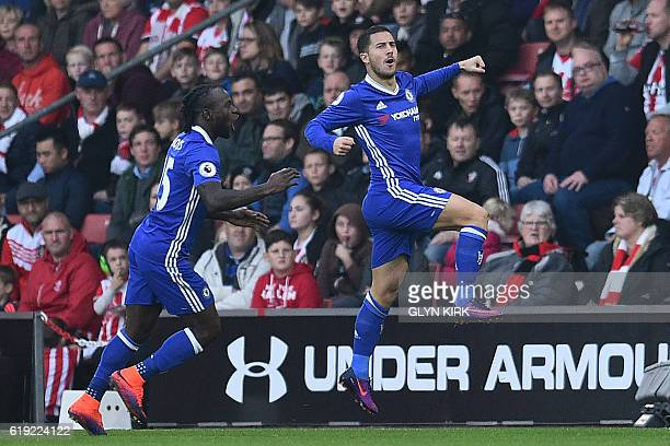 Chelsea's Belgian midfielder Eden Hazard celebrates scoring the opening goal during the English Premier League football match between Southampton and...