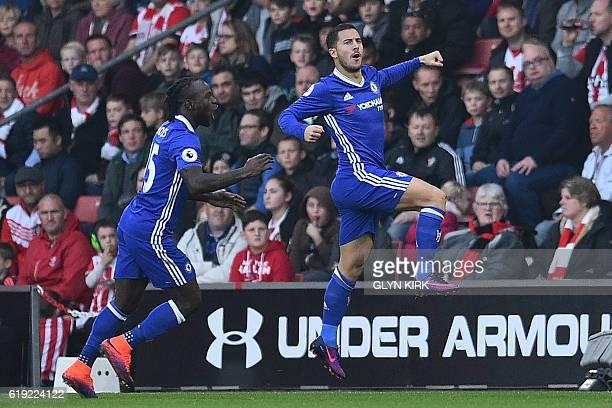 Chelsea's Belgian midfielder Eden Hazard celebrates scoring the opening goal during the English Premier League football match between Southampton and...