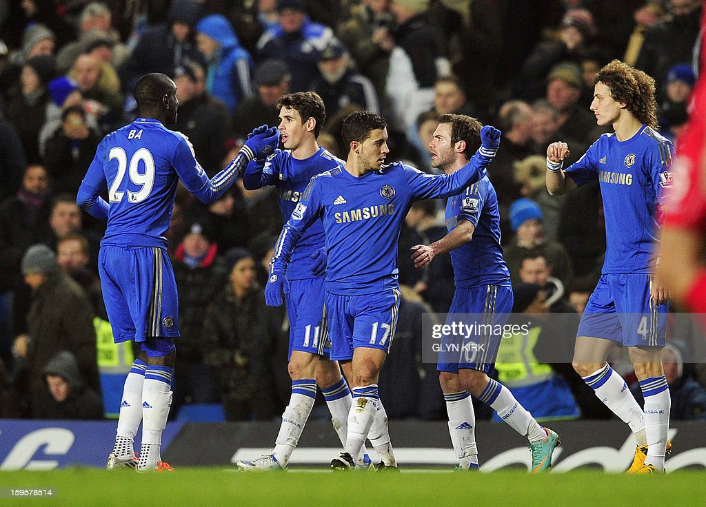 "Chelsea's Belgian midfielder Eden Hazard (3rd L) celebrates scoring their second goal with teammates during the English Premier League football match between Chelsea and Southampton at Stamford Bridge in London, on January 16, 2013. USE. No use with unauthorized audio, video, data, fixture lists, club/league logos or ""live"" services. Online in-match use limited to 45 images, no video emulation. No use in betting, games or single club/league/player publications."