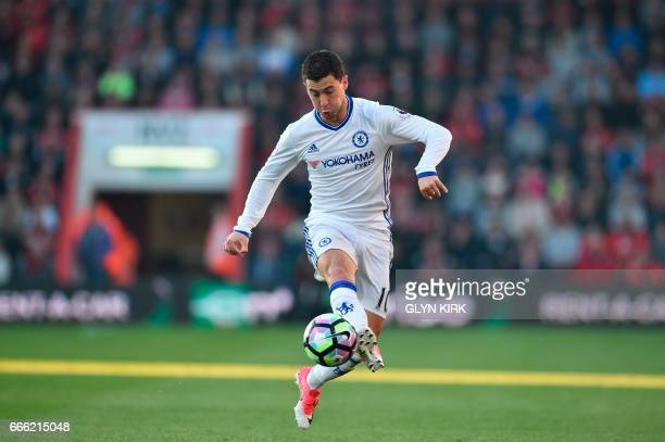 Chelsea's Belgian midfielder Eden Hazard chases the ball down during the English Premier League football match between Bournemouth and Chelsea at the...