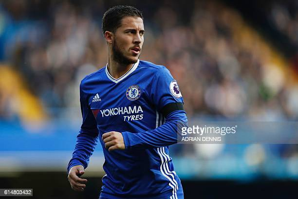 Chelsea's Belgian midfielder Eden Hazard in action during the English Premier League football match between Chelsea and Leicester City at Stamford...