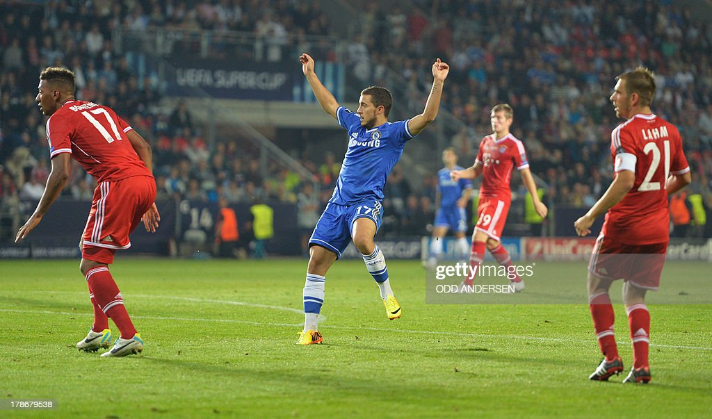 Chelsea's Belgian midfielder Eden Hazard (C) reacts after scoring during the UEFA Super Cup football match FC Bayern Munich vs Chelsea FC on August 30, 2013 at the Eden Stadium, in Prague.