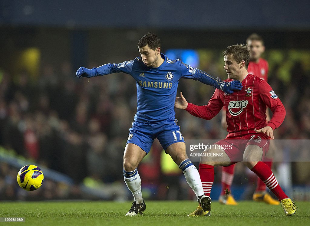 "Chelsea's Belgian midfielder Eden Hazard (L) vies for the ball against Southampton's English defender Luke Shaw (R) during the English Premier League football match between Chelsea and Southampton at Stamford Bridge in London, on January 16, 2013. The game finished 2-2. USE. No use with unauthorized audio, video, data, fixture lists, club/league logos or ""live"" services. Online in-match use limited to 45 images, no video emulation. No use in betting, games or single club/league/player publications."