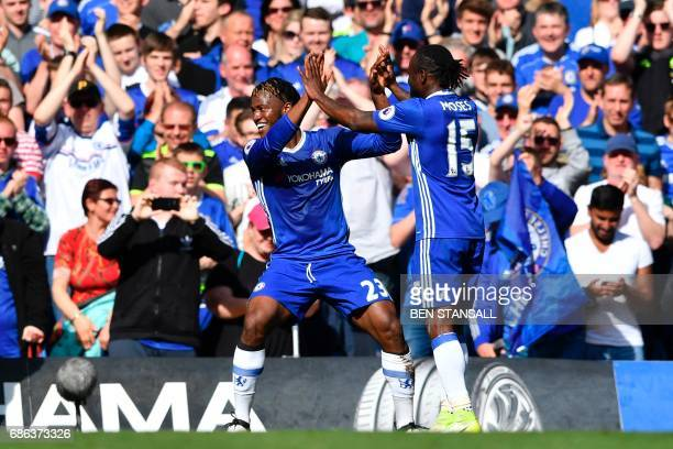 Chelsea's Belgian striker Michy Batshuayi celebrates scoring during the English Premier League football match between Chelsea and Sunderland at...