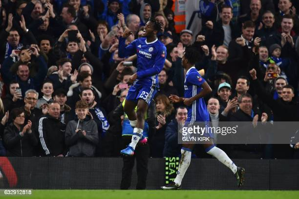 Chelsea's Belgian striker Michy Batshuayi celebrates scoring their fourth goal during the English FA Cup fourth round football match between Chelsea...