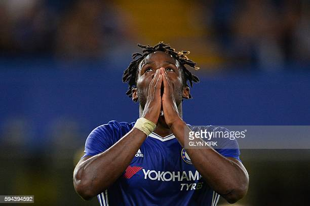 TOPSHOT Chelsea's Belgian striker Michy Batshuayi reacts during the English League Cup second round football match between Chelsea and Bristol Rovers...