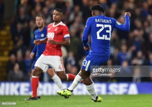 Chelsea's Belgian striker Michy Batshuayi scores his second and the team's fourth goal during the English League Cup third round football match...