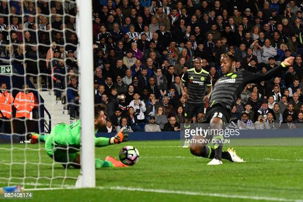 Chelsea's Belgian striker Michy Batshuayi scores the opening goal during the English Premier League match between West Bromwich Albion and Chelsea at...