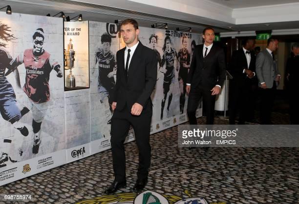 Chelsea's Branislav Ivanovic and Nemanja Matic during the PFA Player of the Year Awards 2015 at the Grosvenor House Hotel London