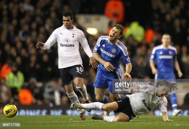 Chelsea's Branislav Ivanovic and Tottenham Hotspur's Luka Modric battle for the ball