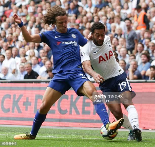 Chelsea's Brazilian defender David Luiz vies with Tottenham Hotspur's Belgian midfielder Mousa Dembele during the English Premier League football...