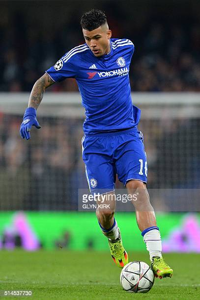 Chelsea's Brazilian midfielder Kenedy runs with the ball during the UEFA Champions League round of 16 second leg football match between Chelsea and...
