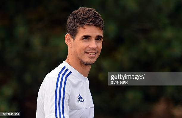 Chelsea's Brazilian midfielder Oscar attends a team training session at Chelsea's training ground in Stoke D'Abernon south of London on July 31 ahead...