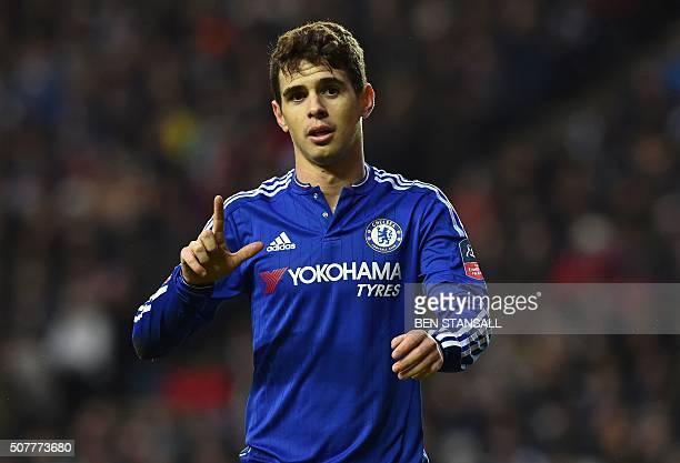 Chelsea's Brazilian midfielder Oscar celebrates after scoring his second goal during the English FA Cup fourth round football match between MK Dons...