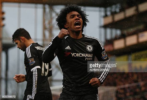 Chelsea's Brazilian midfielder Willian celebrates scoring his team's second goal during the English Premier League football match between Crystal...
