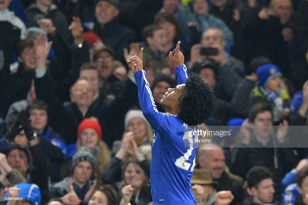 Chelsea's Brazilian midfielder Willian celebrates scoring his team's third goal during the English Premier League football match between Chelsea and Newcastle United at Stamford Bridge in London on February 13, 2016. / AFP / GLYN KIRK / RESTRICTED TO EDITORIAL USE. No use with unauthorized audio, video, data, fixture lists, club/league logos or 'live' services. Online in-match use limited to 75 images, no video emulation. No use in betting, games or single club/league/player publications. /