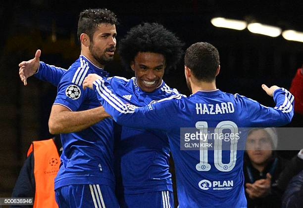Chelsea's Brazilian midfielder Willian celebrates with Chelsea's Brazilianborn Spanish striker Diego Costa and Chelsea's Belgian midfielder Eden...