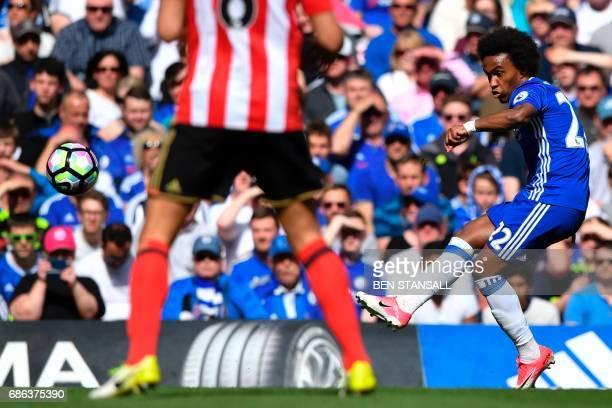 Chelsea's Brazilian midfielder Willian strikes the ball during the English Premier League football match between Chelsea and Sunderland at Stamford...