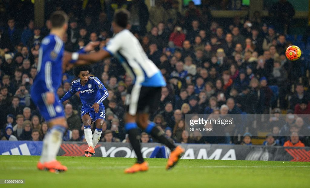 Chelsea's Brazilian midfielder Willian takes a free kick during the English Premier League football match between Chelsea and Newcastle United at Stamford Bridge in London on February 13, 2016. / AFP / GLYN KIRK / RESTRICTED TO EDITORIAL USE. No use with unauthorized audio, video, data, fixture lists, club/league logos or 'live' services. Online in-match use limited to 75 images, no video emulation. No use in betting, games or single club/league/player publications. /